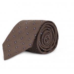 Brown Floral Bourette Silk Tie - thumbnail image 1
