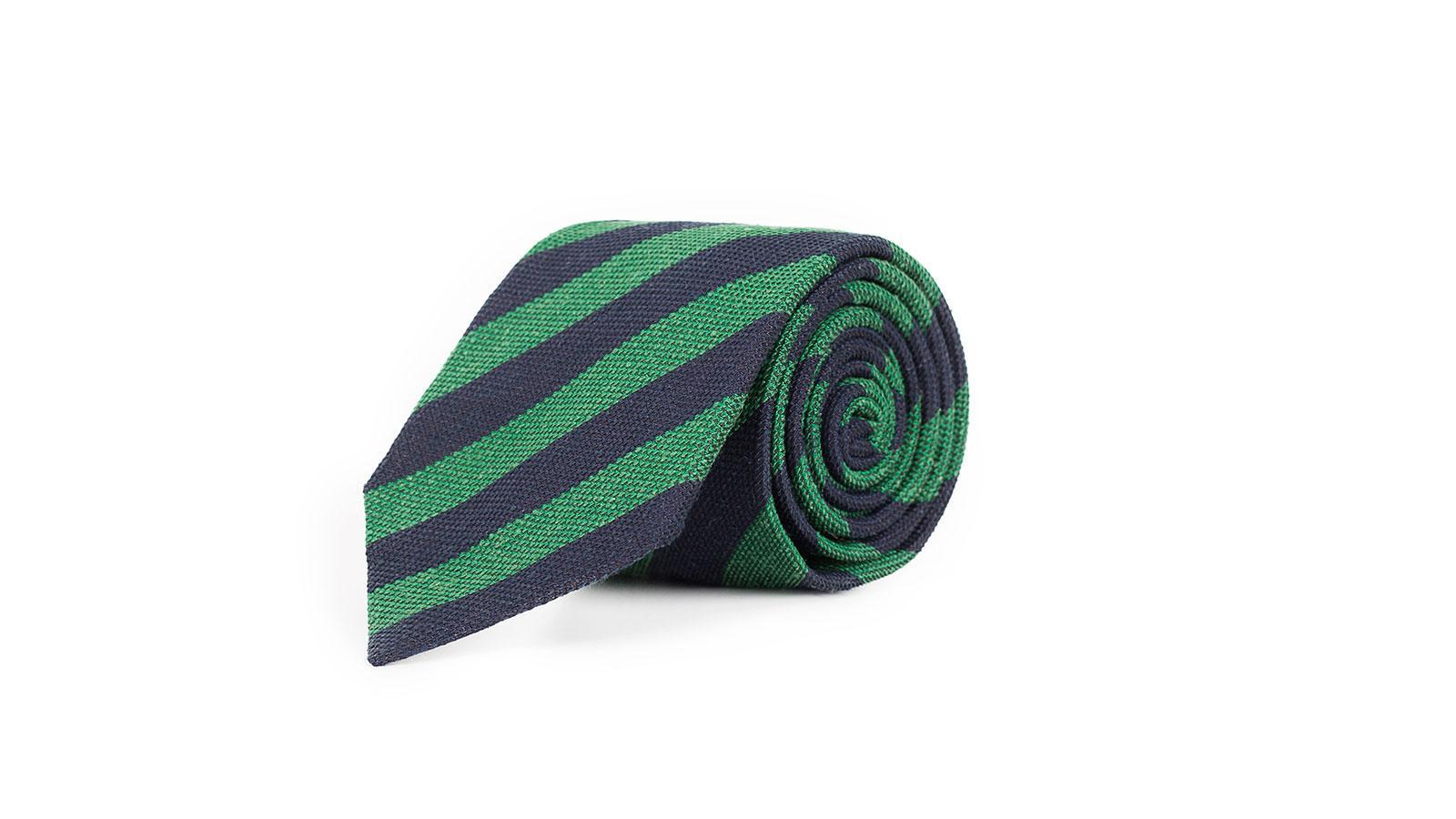 Navy & Green Bourette Silk Tie - slider image