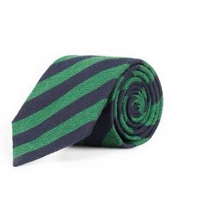 Navy & Green Bourette Silk Tie - thumbnail image 1