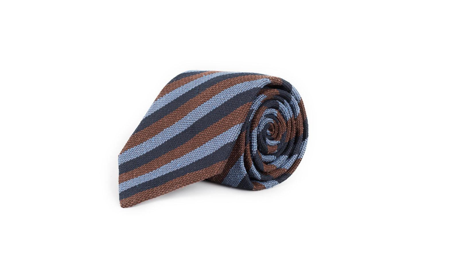 Navy, Brown & Sky Blue Bourette Silk Tie - slider image