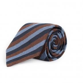 Navy, Brown & Sky Blue Bourette Silk Tie - thumbnail image 1