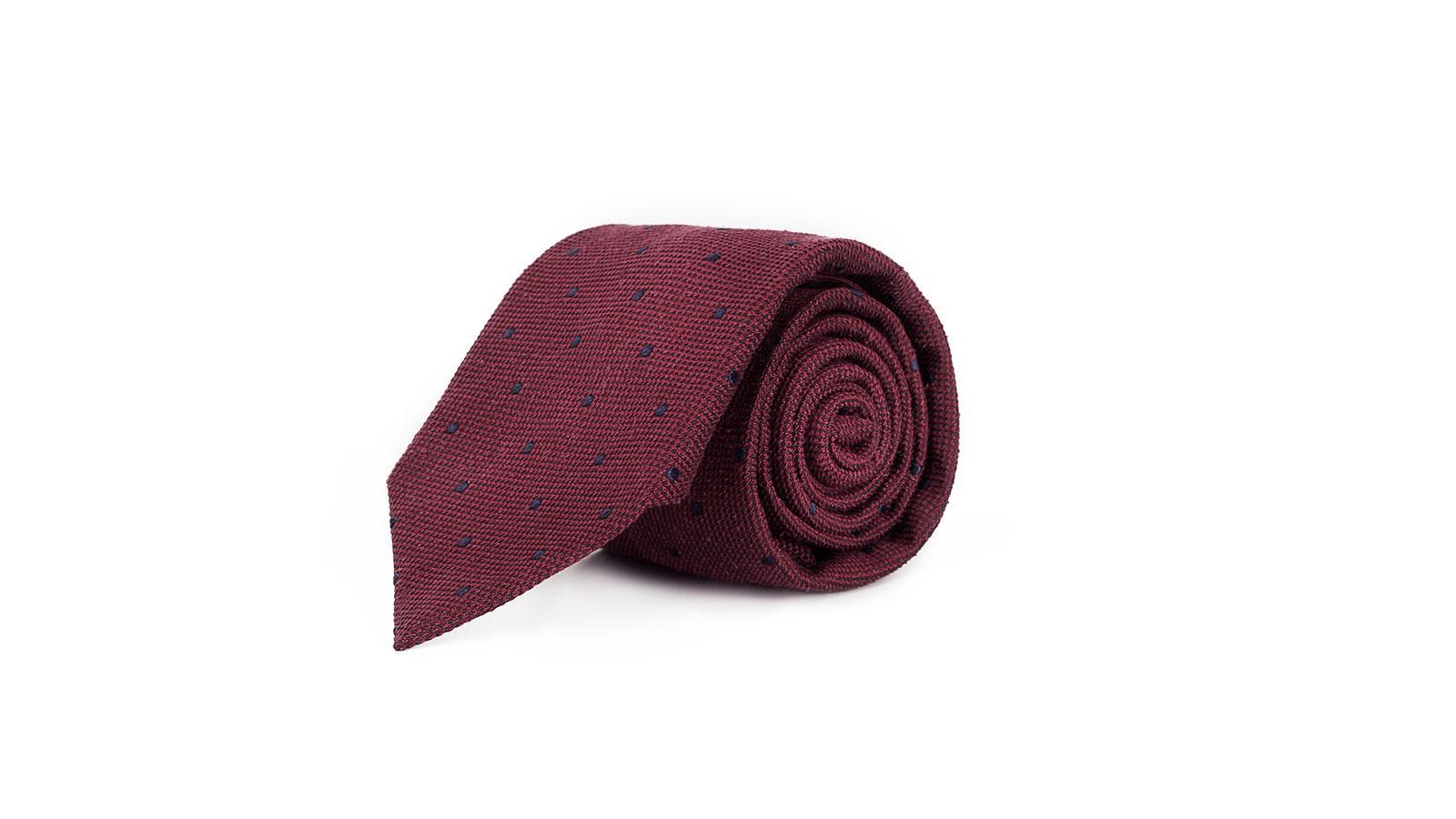Red Dotted Bourette Silk Tie - slider image