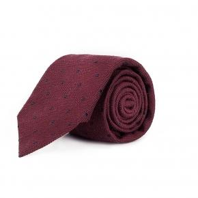 Red Dotted Bourette Silk Tie - thumbnail image 1