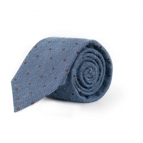 Light Blue Dotted Bourette Silk Tie - thumbnail image 1