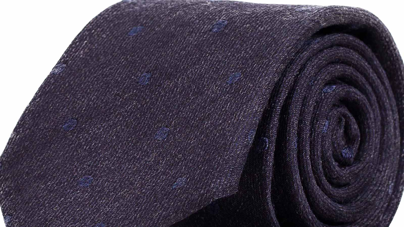 Blue & Sky Blue Dotted Wool Tie - slider image