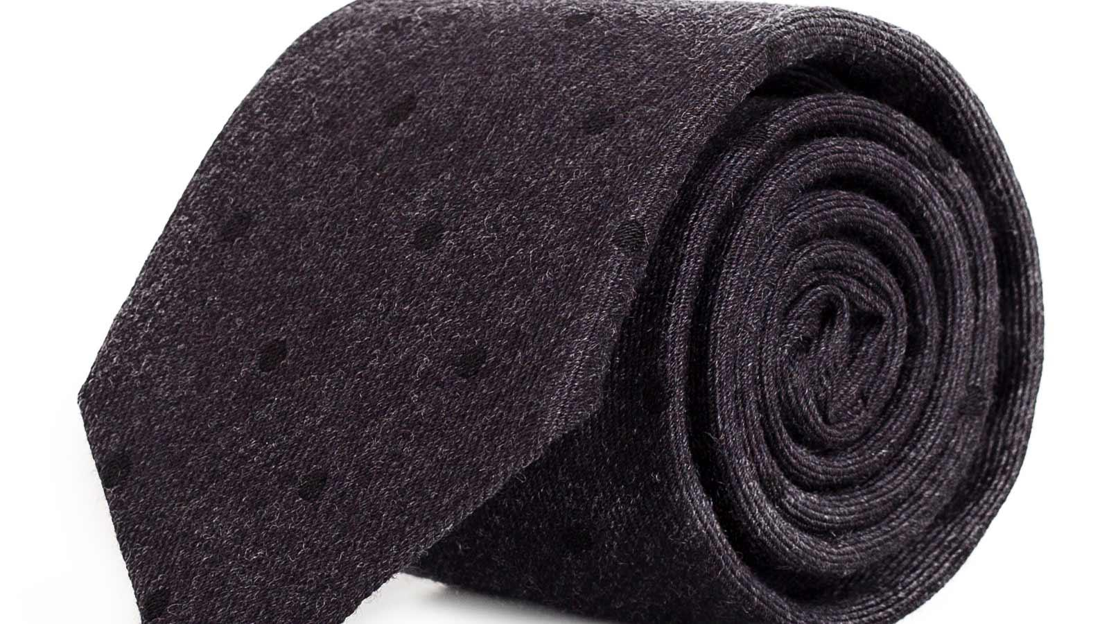 Charcoal Dotted Wool Tie - slider image