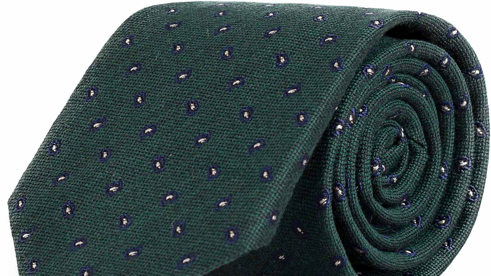Blue & Green Paisley Wool & Silk Tie - slider image