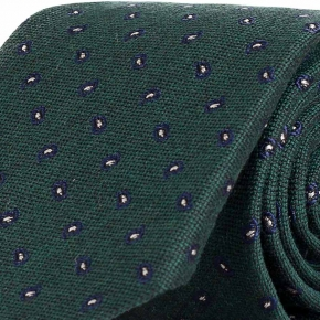 Blue & Green Paisley Wool & Silk Tie - thumbnail image 1