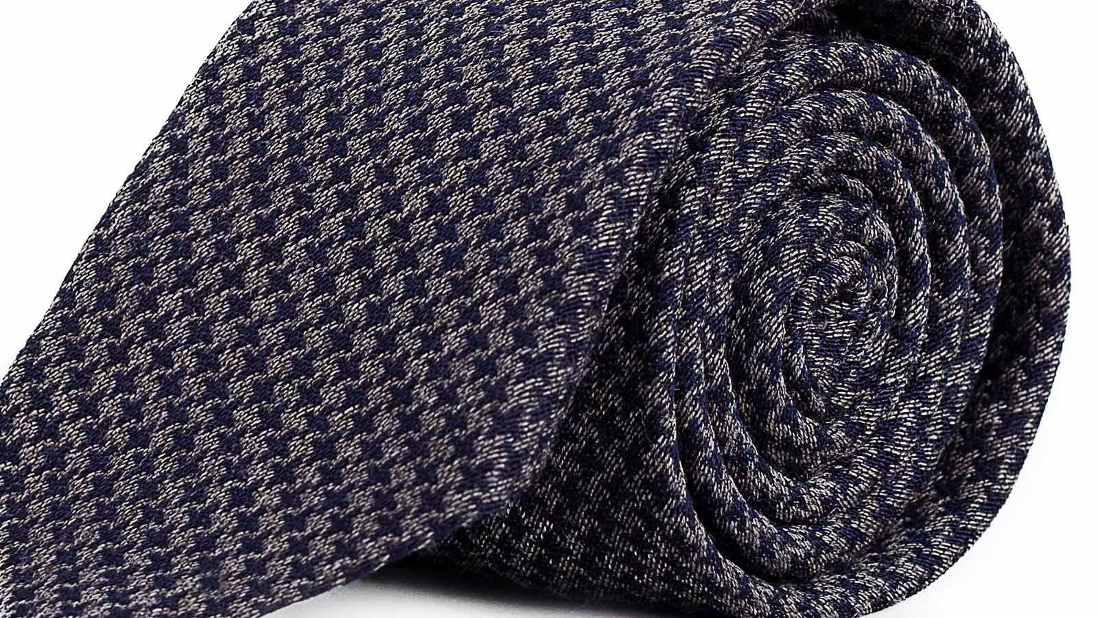 Blue & Grey Houndstooth Wool Tie - slider image
