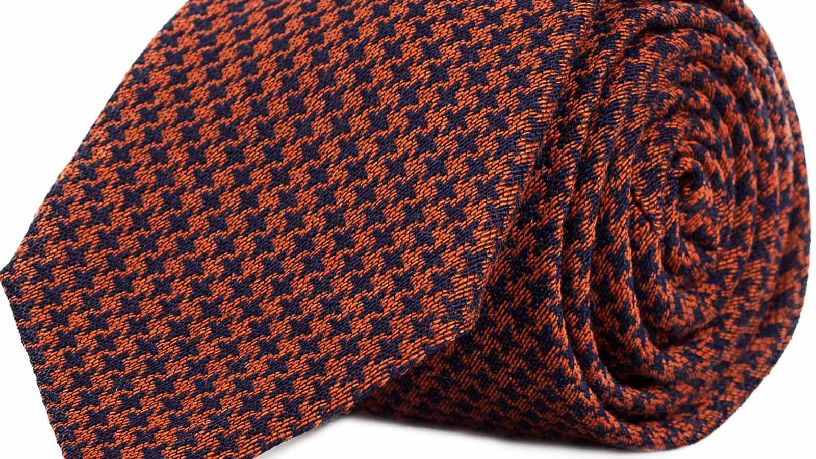 Copper & Blue Houndstooth Wool Tie - slider image