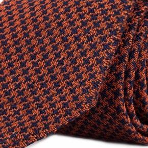 Copper & Blue Houndstooth Wool Tie - thumbnail image 1
