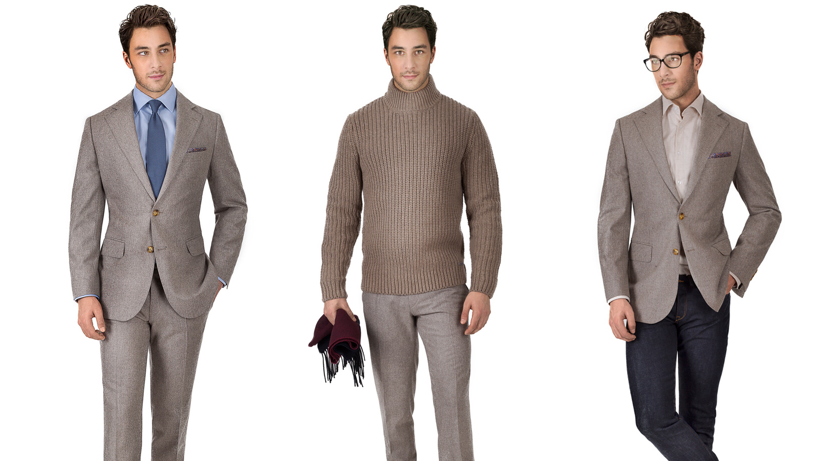 Light Brown Wool Flannel Suit - slider image 1