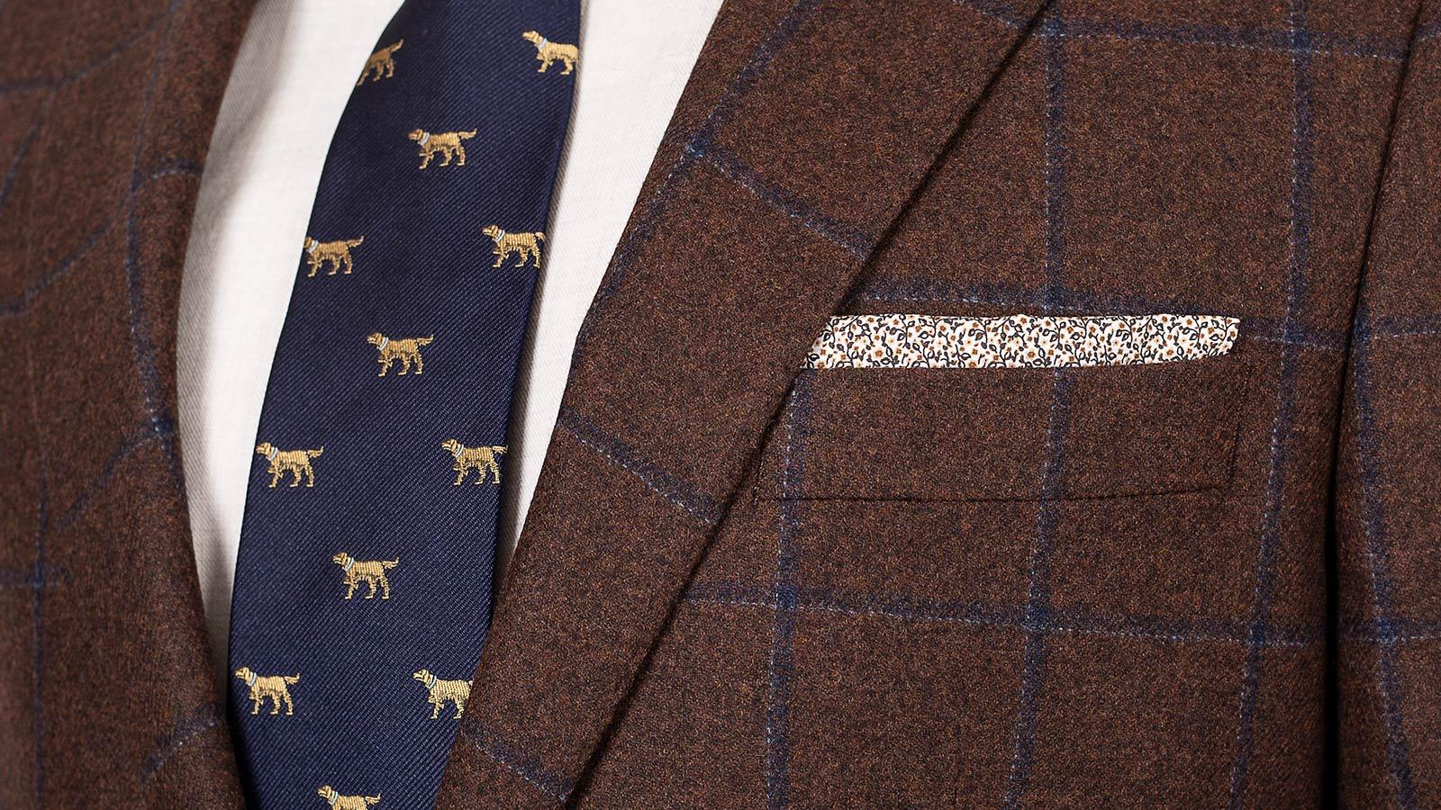 Blue Check Brown Wool & Cashmere Suit - slider image 1
