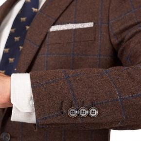 Blue Check Brown Wool & Cashmere Suit - thumbnail image 2
