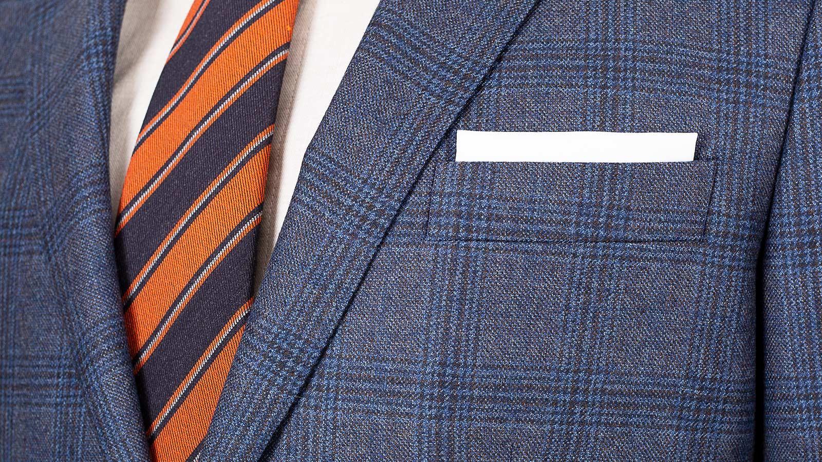 Steel Blue Plaid Wool & Cashmere Suit - slider image 1