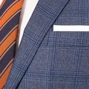 Steel Blue Plaid Wool & Cashmere Suit - thumbnail image 1