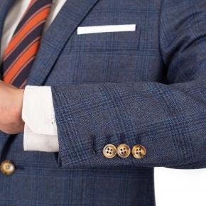 Steel Blue Plaid Wool & Cashmere Suit - thumbnail image 2