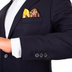 Dark Navy Wool-Silk-Cashmere Blazer - thumbnail image 1