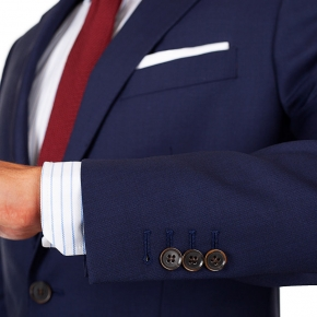 Suit in Deep Blue Pick & Pick Wool - thumbnail image 2