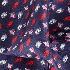 Blue & Red Fish Print Pocket Square - thumbnail image 1