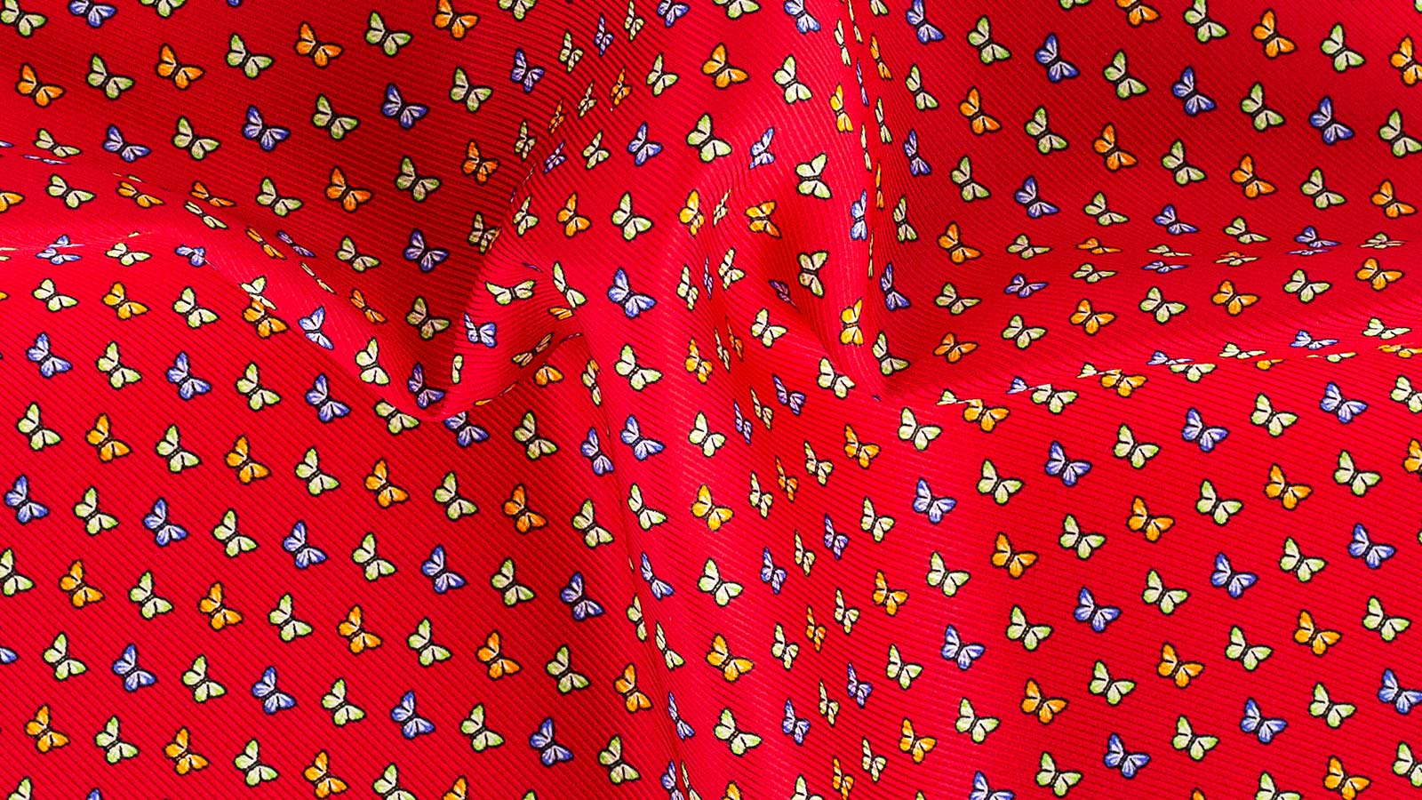 Red & Blue Butterflies Print Pocket Square - slider image