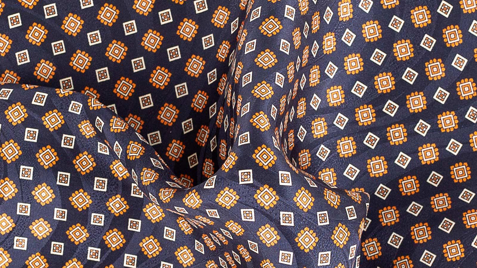 Navy & Orange Pocket Square - slider image