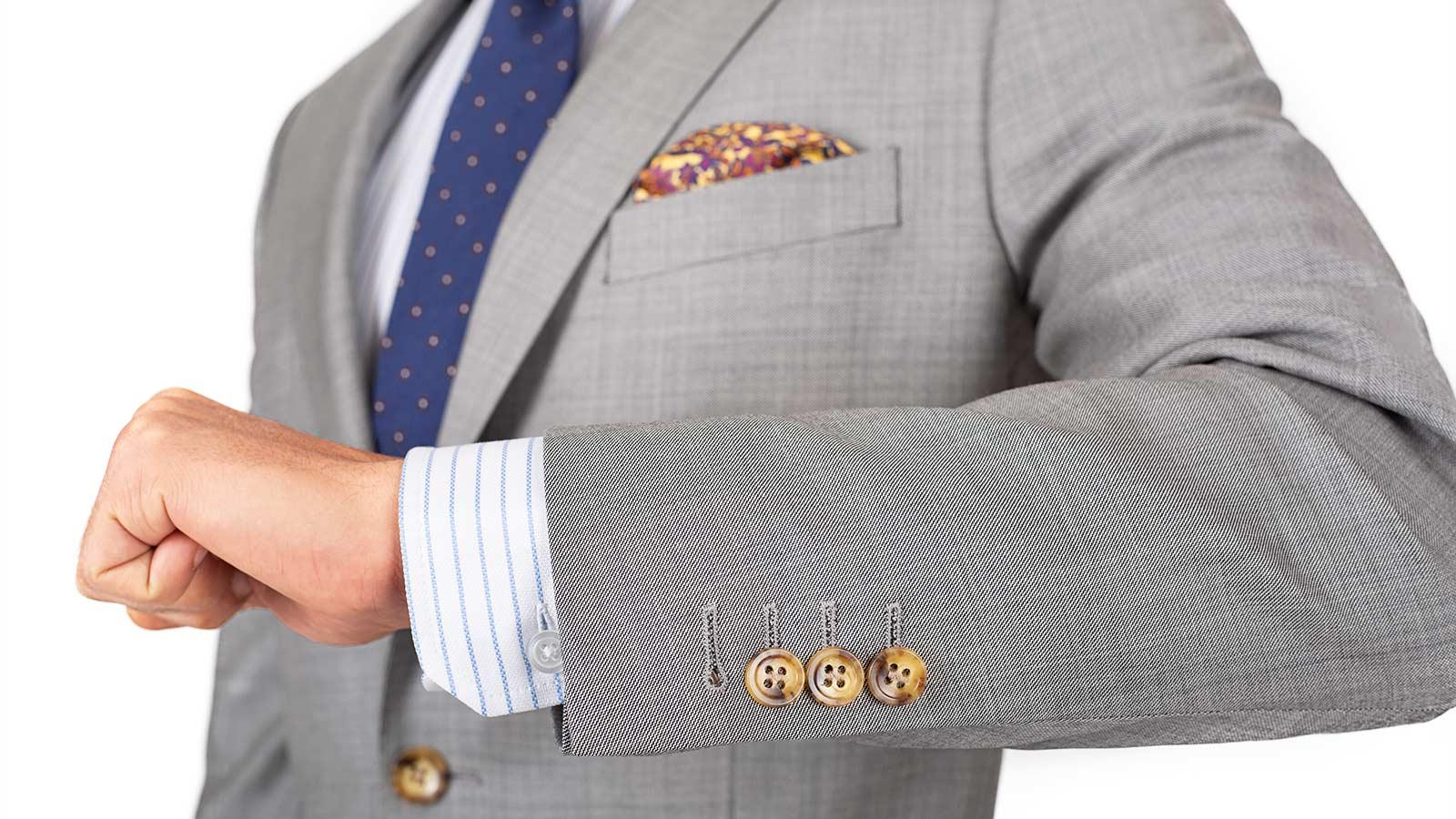 Suit in Light Grey Pick & Pick Wool - slider image 1