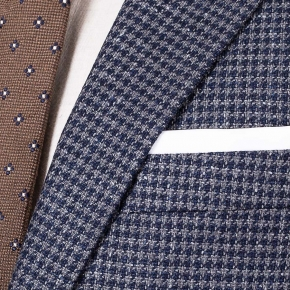 Navy & Grey Wool-Silk Sport Coat - thumbnail image 1