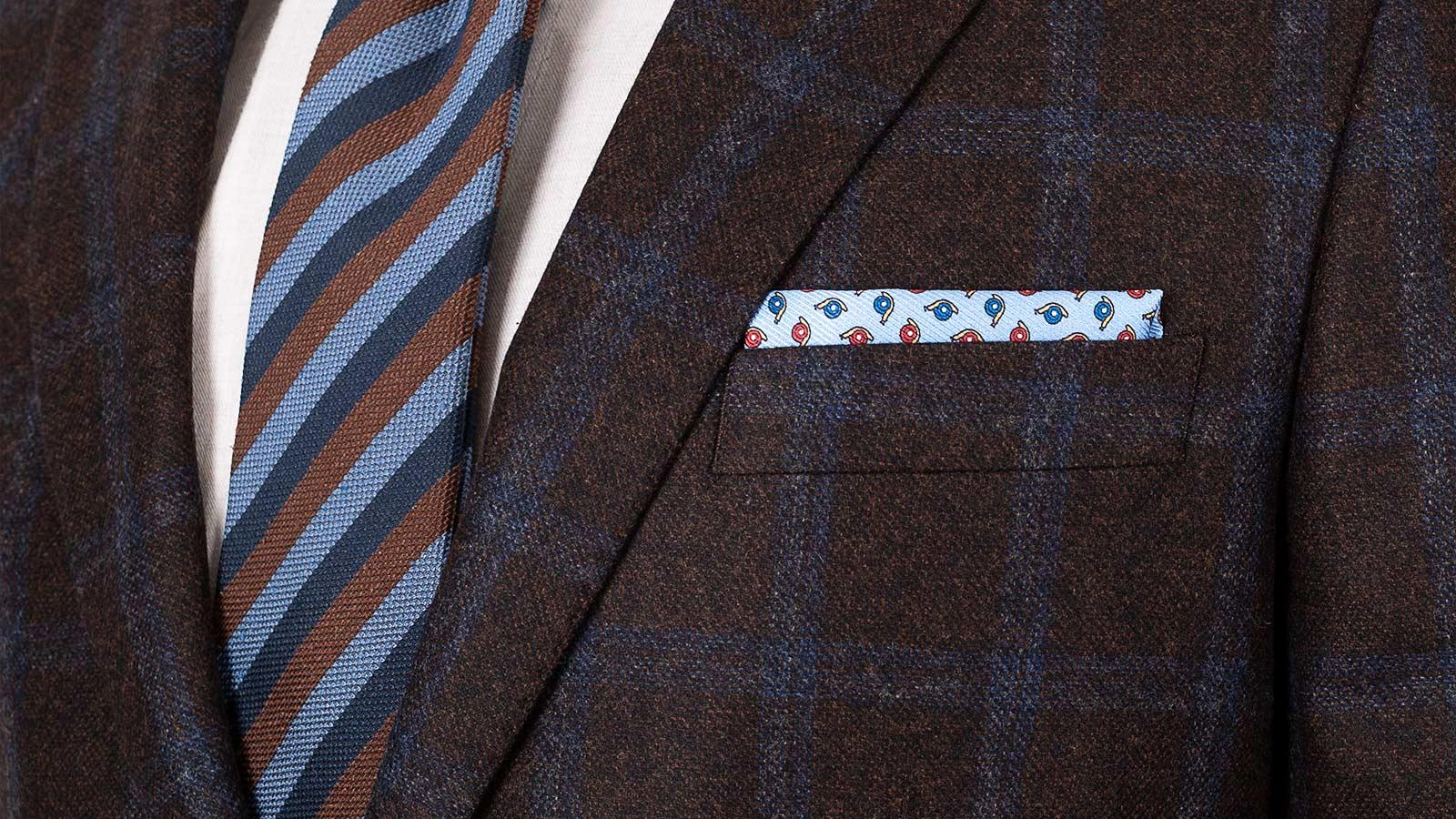 Blue Windowpane Brown Wool & Cashmere Suit - slider image 1