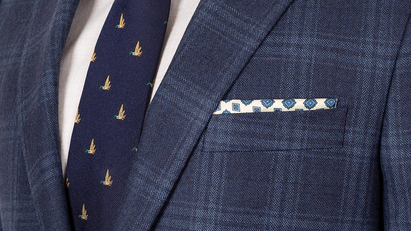 Steel Blue Check Wool & Cashmere Suit - slider image 1