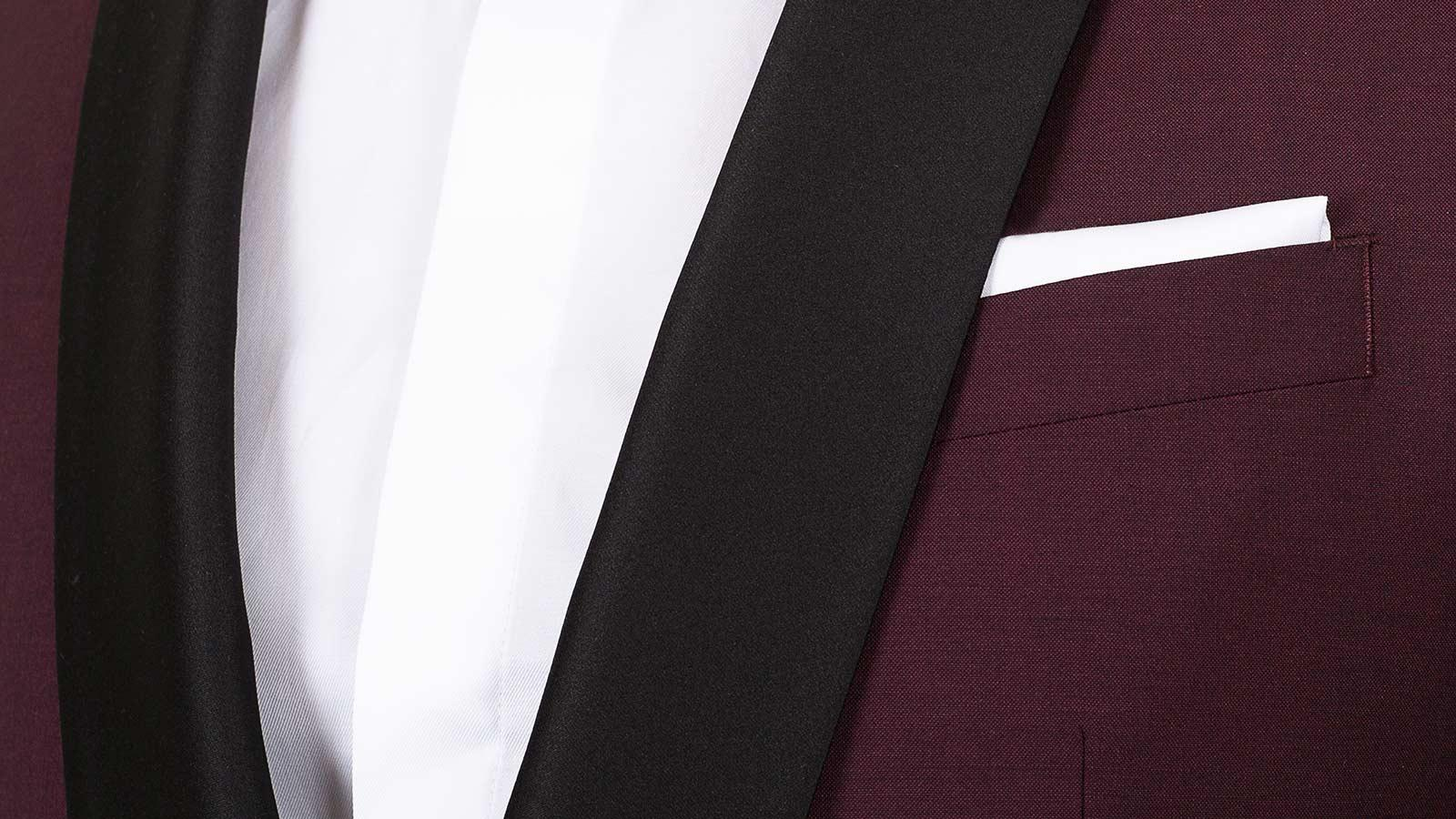 Burgundy Wool & Mohair Dinner Suit - slider image 1
