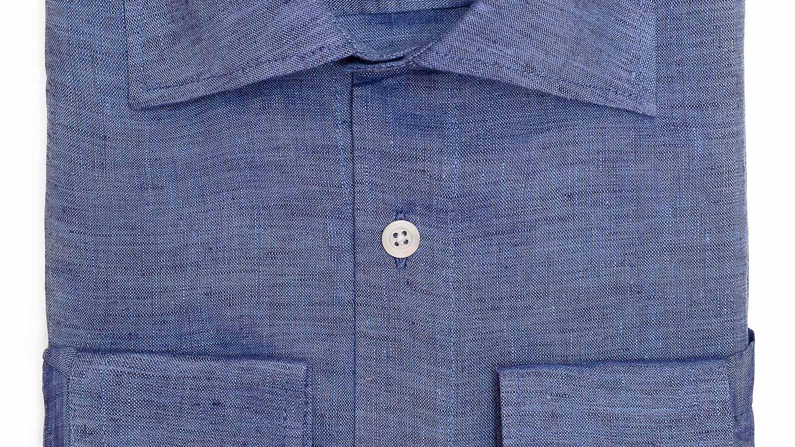 Denim Blue Linen Shirt - slider image