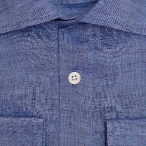 Denim Blue Linen Shirt - thumbnail image 1