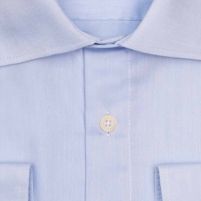 Light Blue Non-iron Cotton Twill Shirt - thumbnail image 2