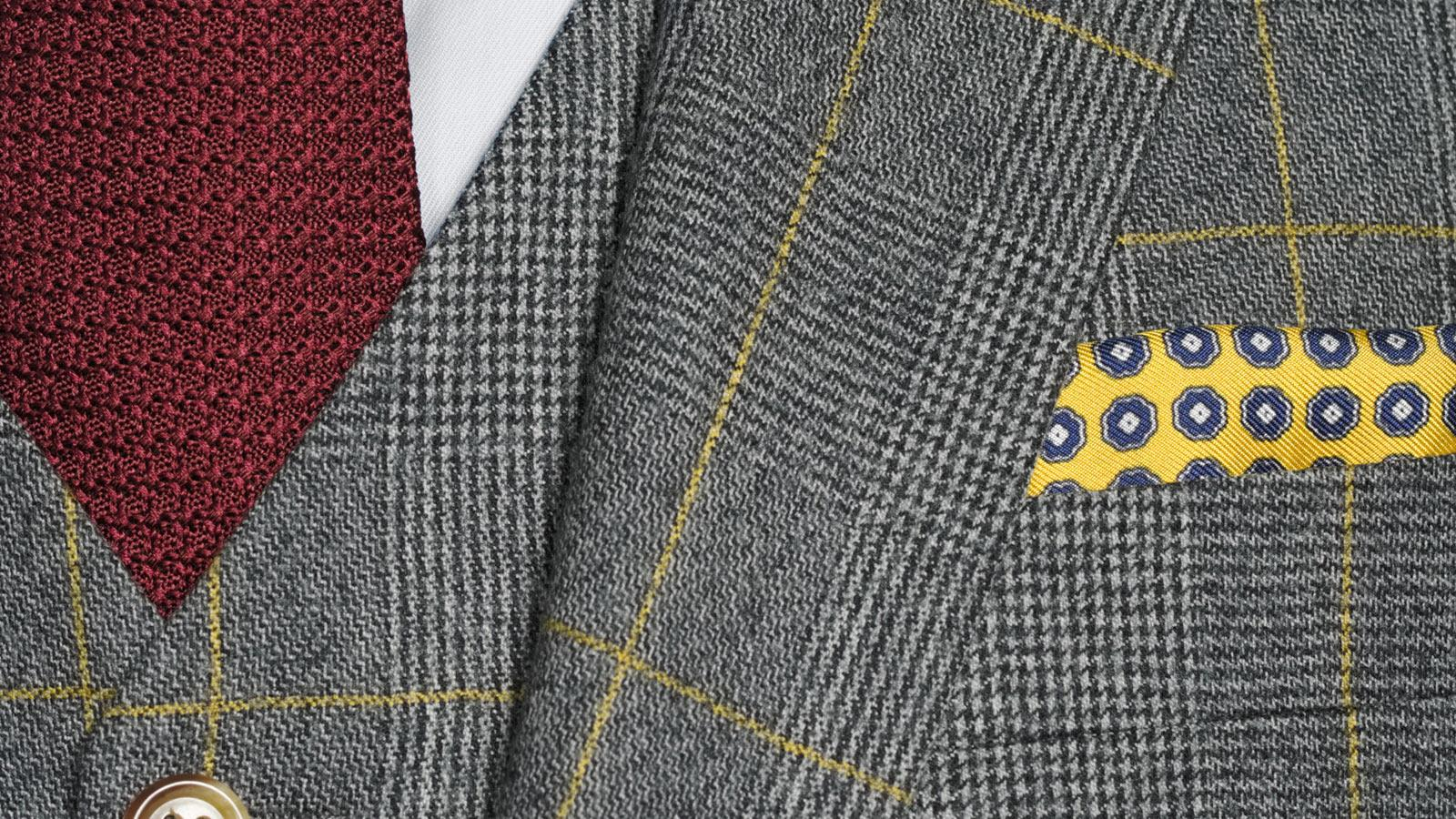 Grey Plaid With Yellow Overcheck 3 Piece Suit - slider image 1