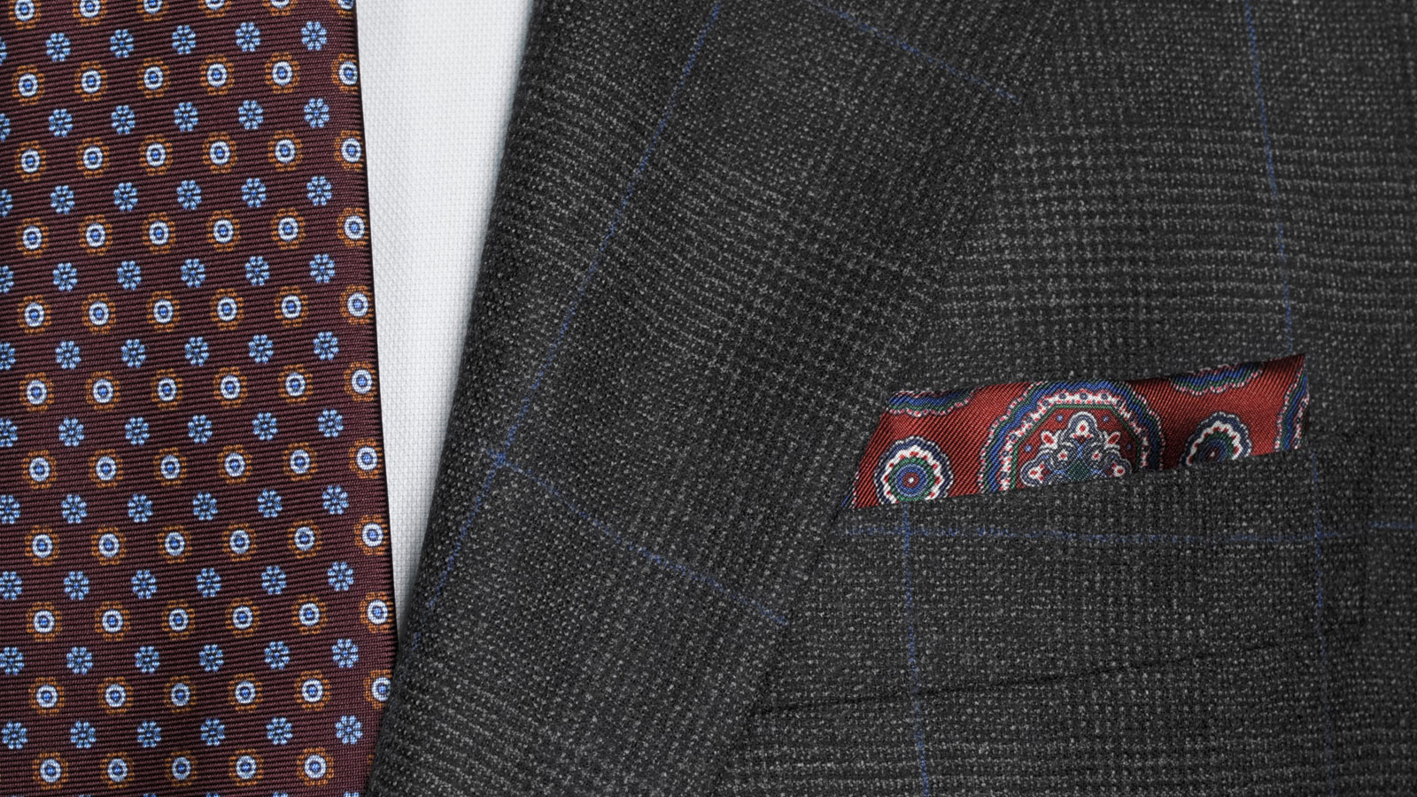 Charcoal Plaid With Navy Overcheck Suit - slider image 1