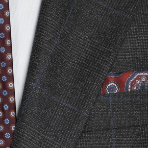 Charcoal Plaid With Navy Overcheck Suit - thumbnail image 1