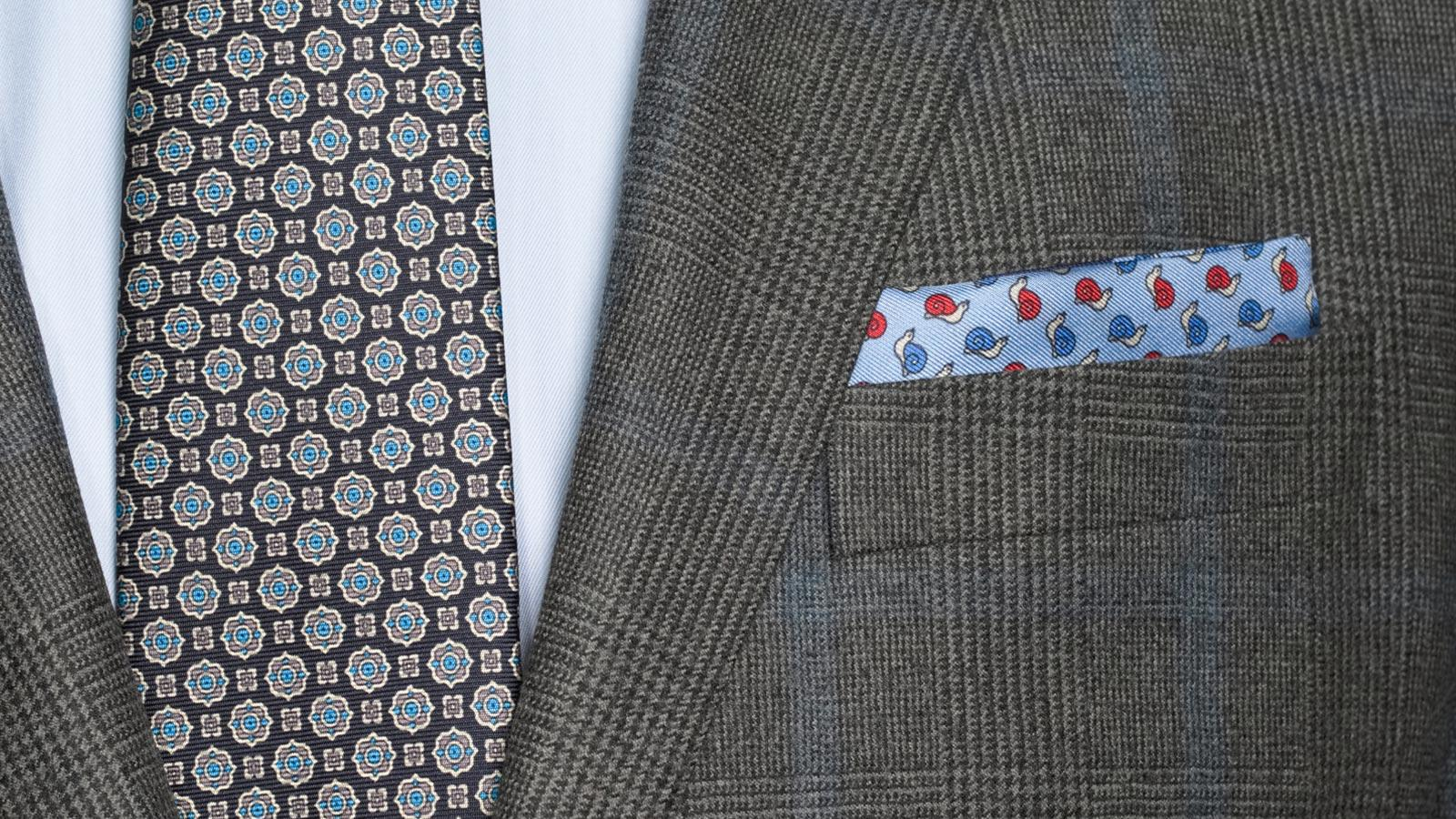 Blue Check Warm Grey Plaid Suit - slider image 1