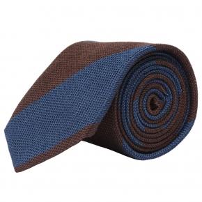 Blue & Brown Grenadine Silk Tie - thumbnail image 1