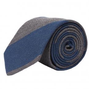 Blue & Grey Grenadine Silk Tie - thumbnail image 1