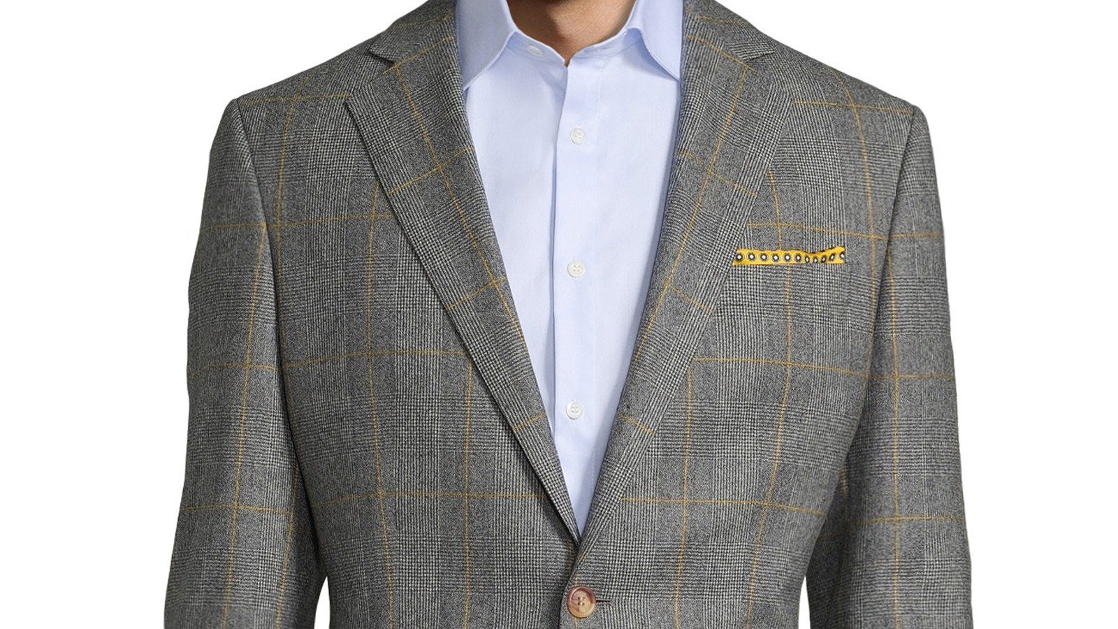 Grey Plaid With Yellow Overcheck Suit - slider image 1