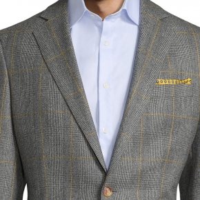 Grey Plaid With Yellow Overcheck Suit - thumbnail image 1