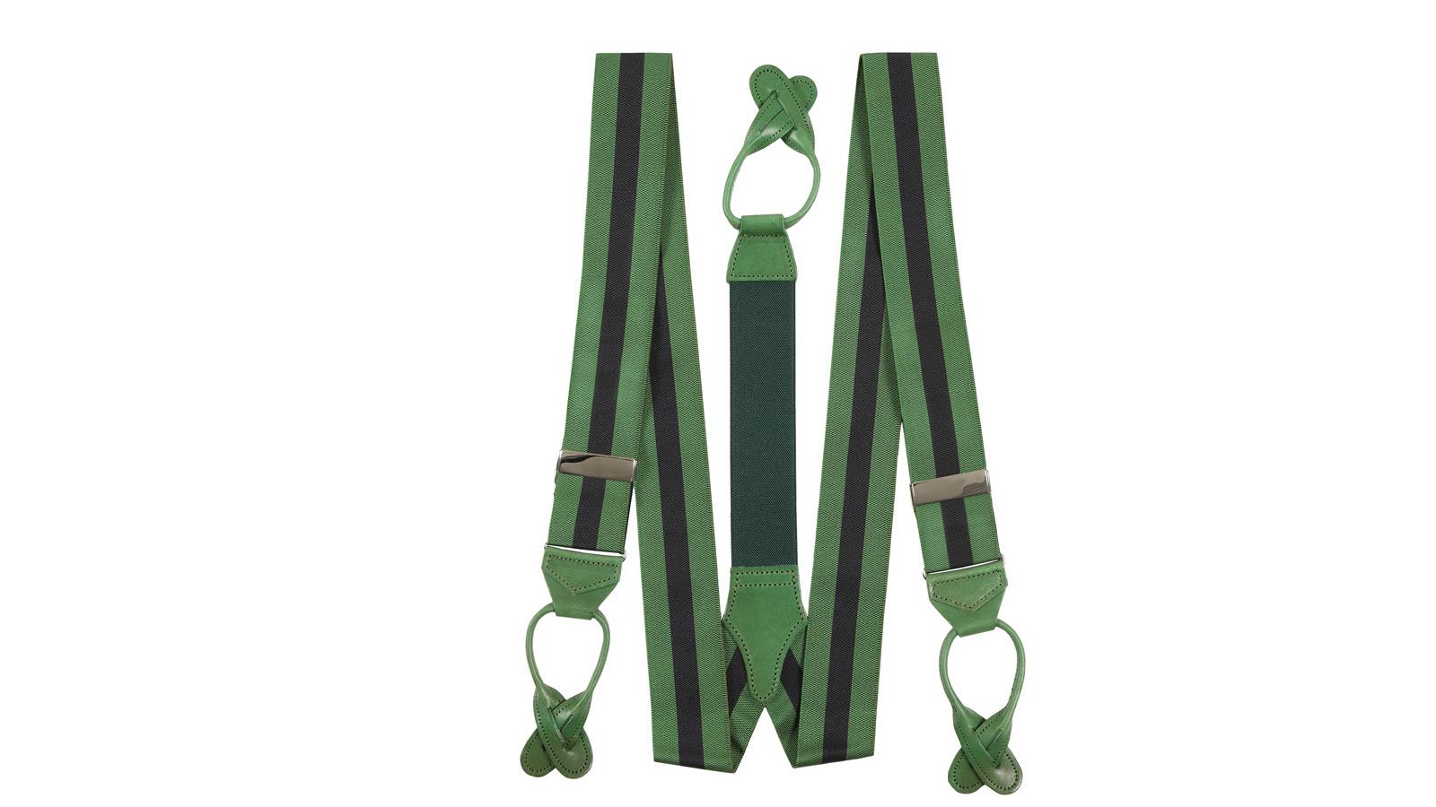 Green & Navy Striped Suspenders - slider image