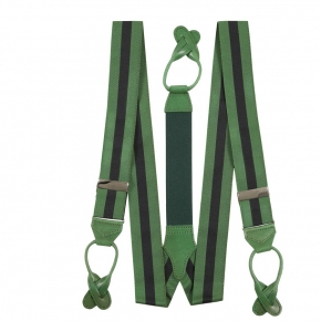 Green & Navy Striped Suspenders - thumbnail image 1