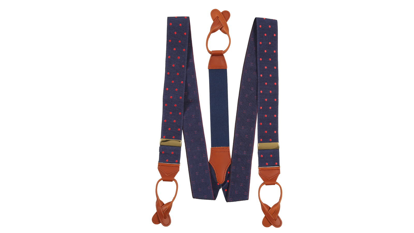 Navy & Red Polka Dot Suspenders - slider image