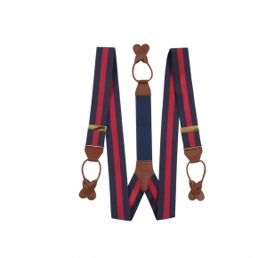 Navy & Red Striped Suspenders - thumbnail image 1