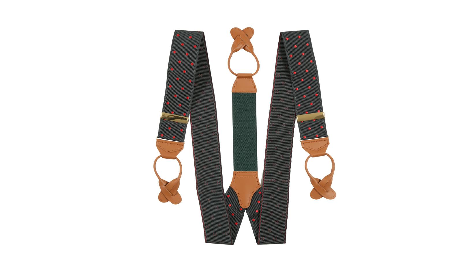 Olive Green & Red Polka Dot Suspenders - slider image