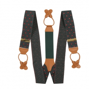 Olive Green & Red Polka Dot Suspenders - thumbnail image 1
