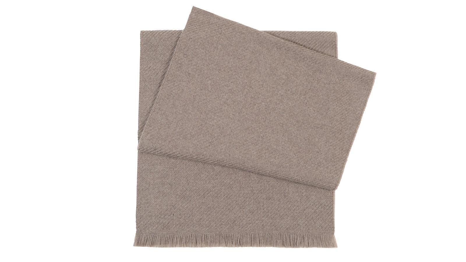 Solid Beige Wool Scarf  - slider image