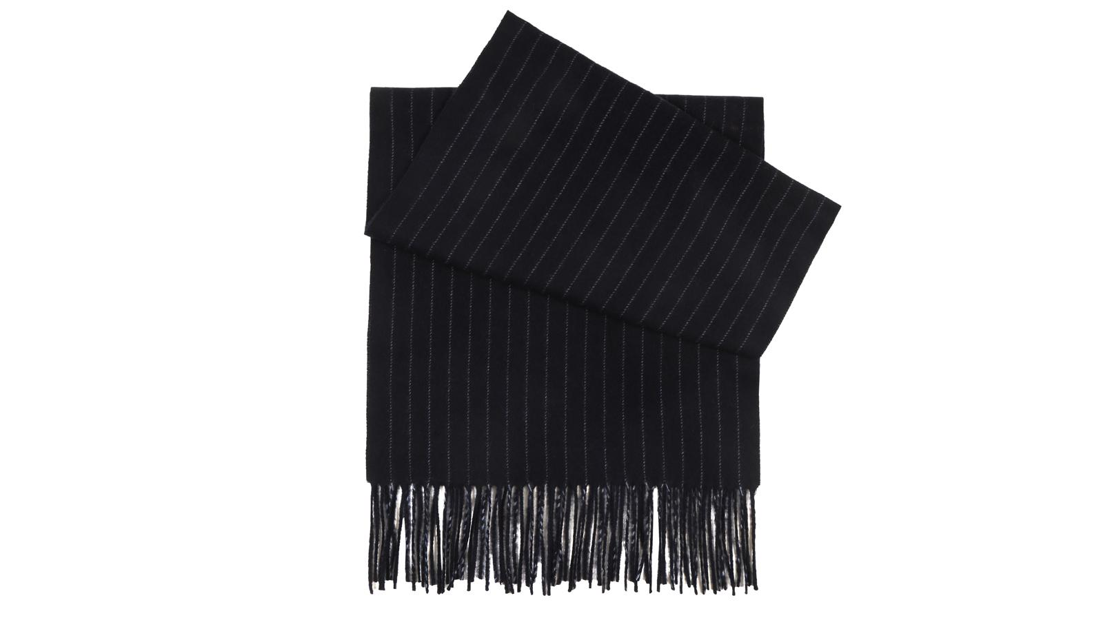 Navy Striped Wool Scarf - slider image